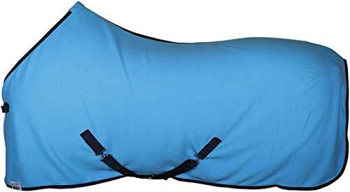 Amesbichler Harry`s Horse Pferde Fleecedecke Abschwitzdecke mit Kreuzbegurtung | Pferdedecke mit Brustverschluss, blau, Gr. 145