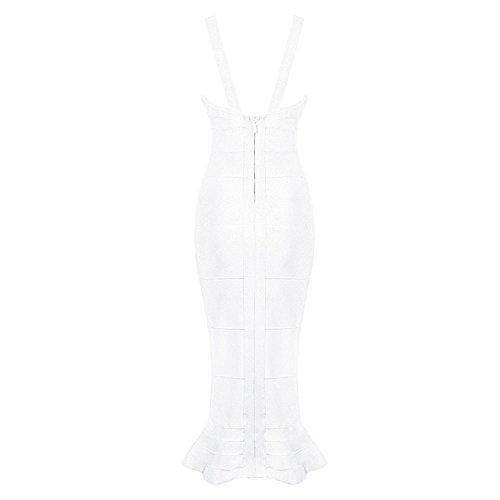 HLBandage Deep V Neck Strappy Cut Out Mermaid Fishtail Rayon Bandage Dress Blanc
