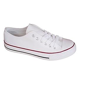 Zapatillas Blancas de Lona Mujer Estilo Casual y Deportivo