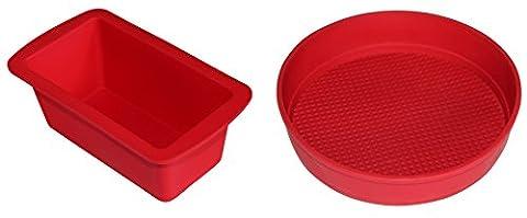 Kastenform und Tortenform Set Silikon: Kleine Brotbackform & runde Kuchenform in Rot, idealer Mini-Tortenboden ♥ Verilicious