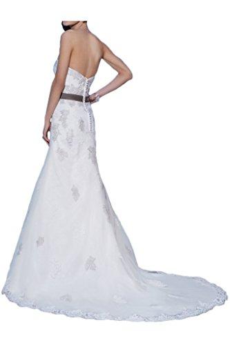 Milano Bride Suess Traegerlos Tuell Hochzeitskleider Brautkleider Brautmode Damen mit Steine Band Applikation Weiß