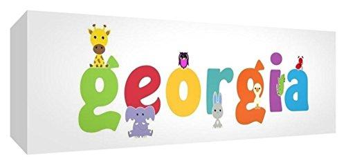 Feel Good Art Galerie verpackt Leinwandbild für Kinderzimmer, die Solide Front Panel rechteck Design Cute Illustrationen und personalisiert mit Girl 's Name (21x 59x 4cm, mittel, Georgien) (Georgien Namen)