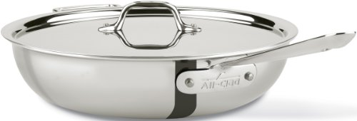 All-Clad 440465 Stainless Steel Tri-Ply Bonded Dishwasher Safe Weeknight Pan with Lid / Cookware, 4-Quart, Silver
