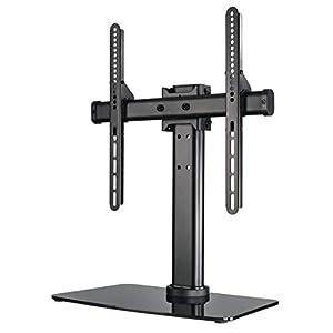 Hama Fernsehständer höhenverstellbar (TV-Standfuß universal für 32-65 Zoll Fernseher, bis 40 kg, TV-Halterung schwenkbar, Grundplatte aus Sicherheitsglas, VESA bis 600x400) schwarz