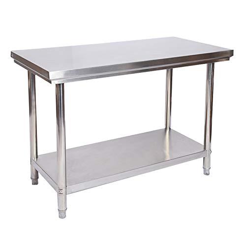 Wiltec Edelstahl Tisch Arbeitstisch Edelstahltisch Gartentisch 100 x 60 x 85 cm