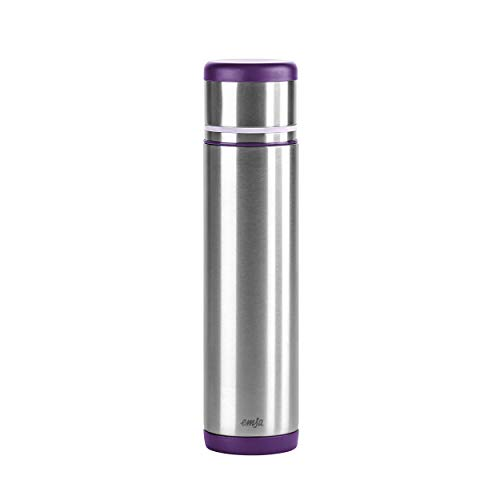 Emsa 509227 Isolierflasche, Mobil genießen, 700 ml,Safe Loc Pro Verschluss, Brombeer-Lila, Mobility