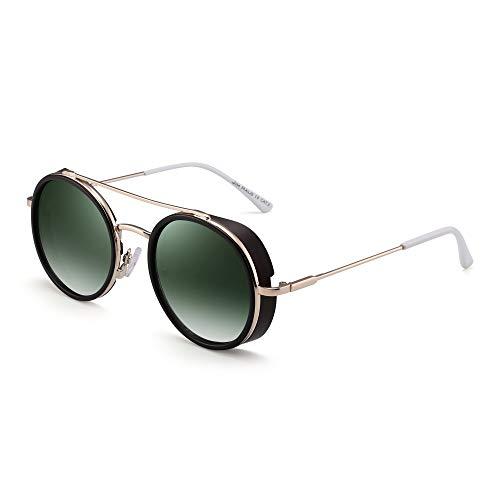 JIM HALO Retro Rund Steampunk Sonnenbrille Für Damen Herren Kreis Linsen Metall Rahmen(Kaffee-Rahmen/Gradiente Grüne Linse)
