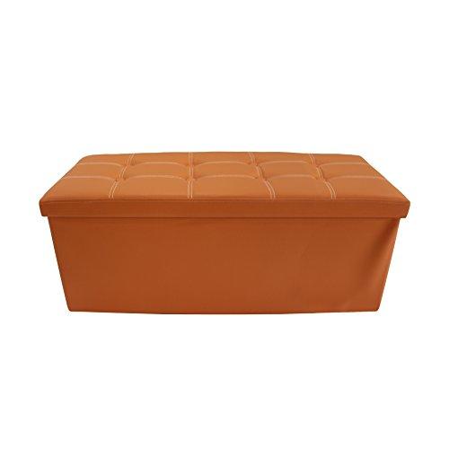 Mobili Rebecca Baúl para Dormitorio Asiento Organizador Puff de Polipiel Cajas de almacenaje Moderno 38 x 110 x 38 cm (Naranja)