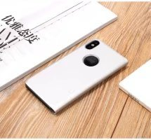 Meimeiwu Clear View Flip Custodia Cover con Funzione Kickstand [Sleep/Wake Funzione] Ultra-Sottile Specchio Traslucido Smart Cover per iPhone X - Porpora Argento
