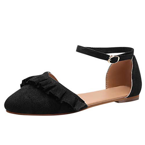 Makefortune-Schuhe Mode Damenschuhe Faux Wildleder Knöchelriemen D'Orsay Spitz Ballerinas Wide Fit Sandalen Plus Size Flache Kleid Sandalen Pumps für Frauen Damen (Plus Ballerina Size Kleid)