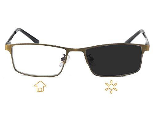 KOMNY Farb-ändernde Lesebrille männlich HD Smart Lesebrille weit und in der Nähe Dual-Light-Farbe Sonnenbrille Progressive Multi-Fokus, A + 250