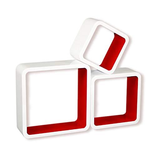 Homestyle4u 796, Wandregal 3er Set, Cube Regal, Weiß Rot Hochglanz