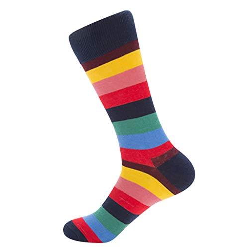 (kolila 1 Paar Herren Socken Verkauf Frühling Sommer Neueste Sicherheit Dauerhafter Komfort Baumwolle Mittlere Socken Strümpfe mit lässigem Streifendruck)