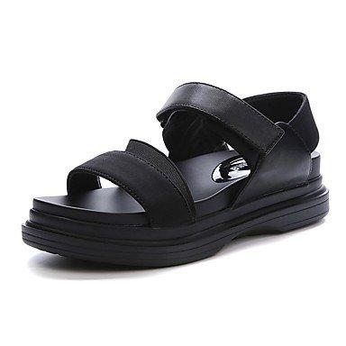 RUGAI-UE Sommer Mode Frauen Sandalen Schuhe Casual PU Komfort Fersen, Grün, US 8 / EU 39/UK6/CN 39 Black