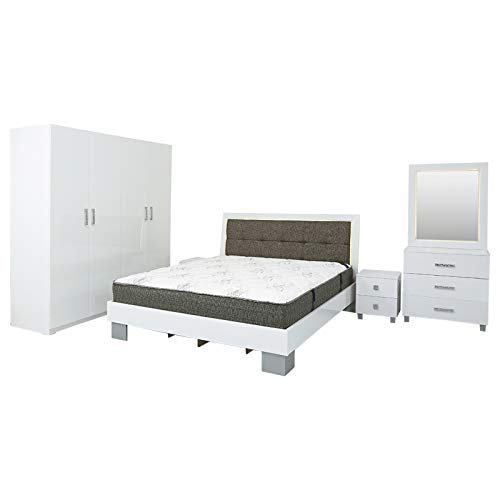 AFT Tycoon Bedroom Set Mattress - AFT Tycoon Series Bedroom Set With Mattress - King Size, High Glossy White