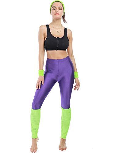80s Neon Workout Set with Legwarmers, sweatbands, headband and leggings