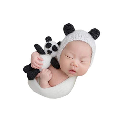 Panda Neugeborene Kostüm - NROCF Panda Neugeborene Häkeln Kleidung, Baby Foto Fotografie Requisiten, Mohair Panda Spielzeug