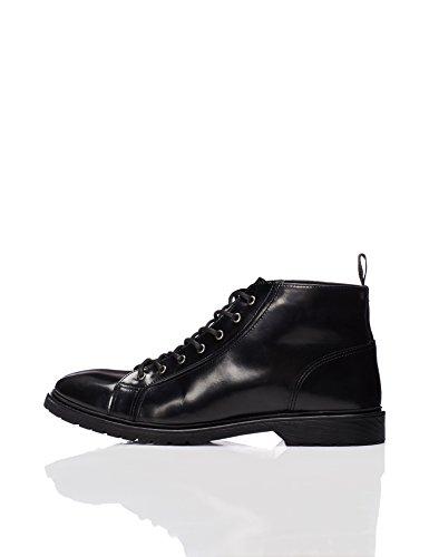 (FIND Stiefel Herren mit Lackleder und hoher Schnürung, Schwarz (Black), 41 EU)