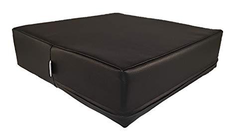 Kissen & more Orthopädisches Stuhlkissen 40x40x10cm, Sitzkissen gegen Rücken- und Steißbeinschmerzen aus Gelschaum. Für Stuhl, Auto, Bank, Bett. Sitzerhöhung schwarz mit Kunstleder -