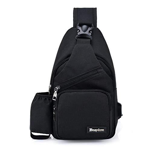 NANSHIB Herrentasche Canvas Herren Brusttasche Wasserdicht Casual Travel Damen Rucksack Fashion Cup USB Jack, B -