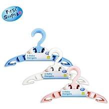 First Steps 6 pack bebé Perchas para Recién Nacido Bebés (Blanco)