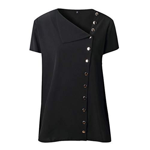 CUTUDE Sommer Damen Freizeit Volltonfarbe Revers Neck T-Shirt Kurzarm Schnalle Bluse Tops (Schwarz, X-Large) - Dark Leopard-print-hose