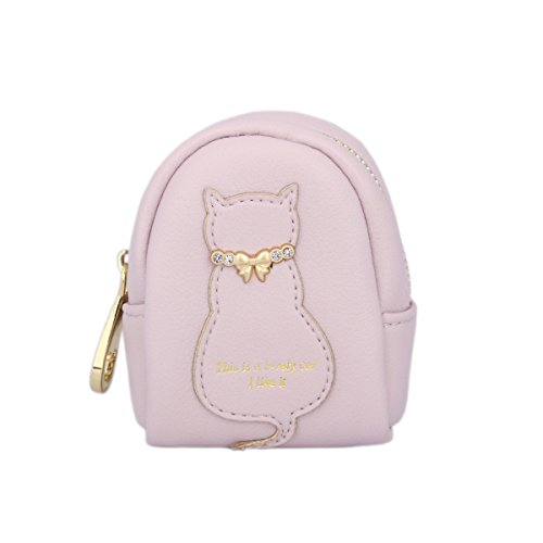 Day of Saturn Students Leather Purse With Cat Gentleman Lobster Clasp Ring Figure Similar To Backpack, Purple