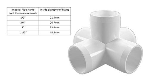 Fach Ellenbogen (3/10,2cm weiß 5-fach Ellenbogen, Hochglanz, Möbel Grade (Phantom Rohr mit einer 26,7mm OD))
