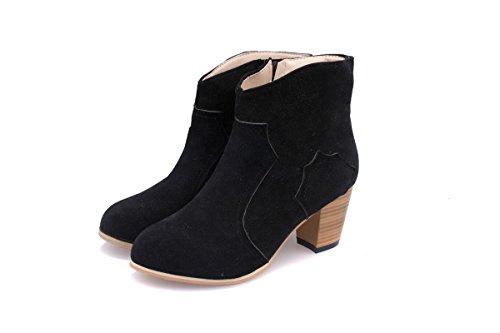 WZG Martin bottes côté fermeture éclair matte ronde bottes en cuir bottes brut avec Chaussures Black