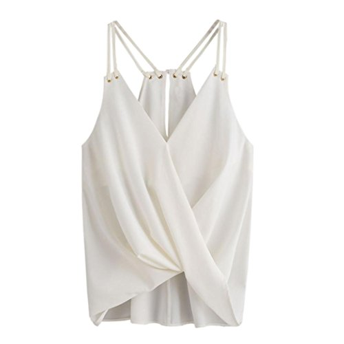 OverDose Trägershirts Flower Bestickte Strappy Cami Top Bluse tops Vest Weste Pulli (S, B-Weiß5) (Stretch-popeline-hemd Bestickte)