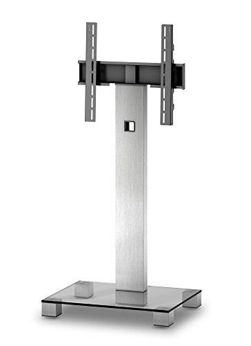 Elbe PL-2510-C-INX - Mueble soporte para TV vertical, 56 x 104 x 18 cm, color cristal y plata