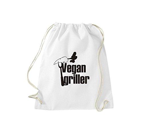 Turnbeutel Vegan griller Grillfest grillen Gymsack Kultsack Weiß