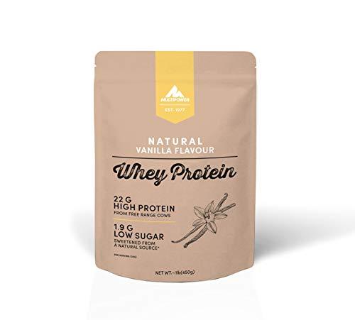 Multipower Whey Protein Natural Eiweißpulver, Proteinpulver aus hochwertigem Molkenprotein, ideal zum Muskelaufbau, Vanilla