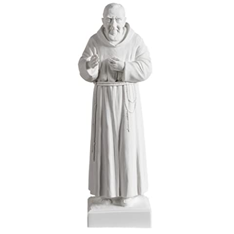 Father Pio statue in white reconstituted marble 40 cm