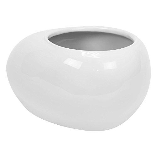Cache pot Piano en ceramique, bas bol, en blanc, diam. 22 cm
