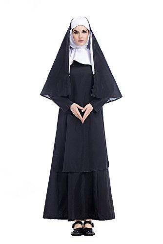 Damen Nonnenkostüm Schwestern-Uniform Klosterfrau Kirche Kostüm 3-tlg. schwarz-weißes Kleid mit Kopfbedeckung und Schal