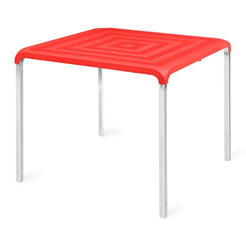 @home by nilkamal Novella 4 Seater Polypropylene Red Dining Table  available at amazon for Rs.4500