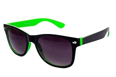 Nerdbrille Sonnenbrille Stil Brille Pilotenbrille Vintage Look Schwarz Grün