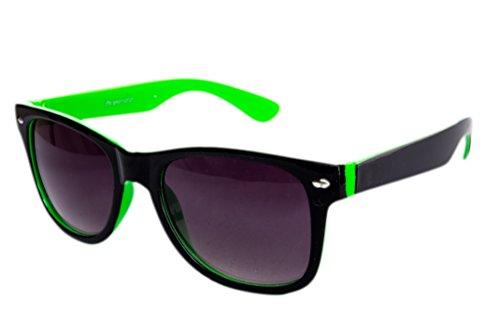 Sonnenbrille Nerdbrille Nerd Retro Look Brille Pilotenbrille Vintage Look - ca. 80 verschiedene Modelle Grün Schwarz Farbverlauf