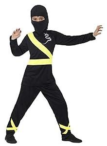 Smiffys Disfraz de Asesino Ninja, Negro y Amarillo, con Capucha, máscara, Parte de arrib