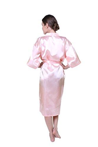 Keynis Damen Kimono lang Morgenmantel Satin Negligee Nachtwäsche Seidenrobe Hellrosa