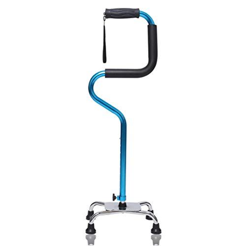 4 Spazierstock Walking Stick Gummi (RANRANJJ Quad Cane Walking Stick für Männer und Frauen Leichtes, verstellbares Personal Bequemer Griff für die rechte und linke Hand zur Stabilitätsunterstützung Vierzackiger, stabiler Aluminium-Reise)