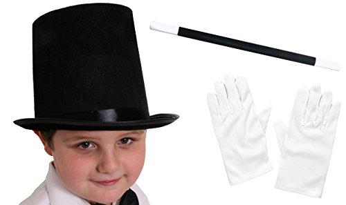 Imagen de ilovefancydress  disfraz de mago sombrero negro de 55 cm, varita mágica y guantes blancos , modelo para niños