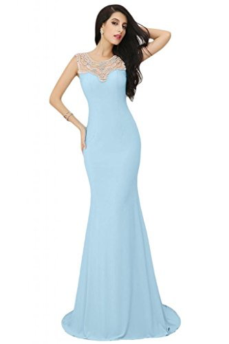 Sunvary Elegant Jewel Sheer sirena cinghie senza maniche, in Chiffon Prom Tulle Gowns sera Light Sky Blue