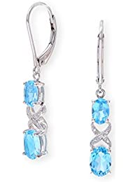 Theia Sterling Silver with Two Oval Blue Topaz Gem Stone and Diamond 'X' Design 3.5cm Hanging Earrings