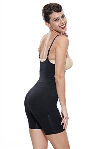 Franato Damen Formender Body, Einfarbig Schwarz