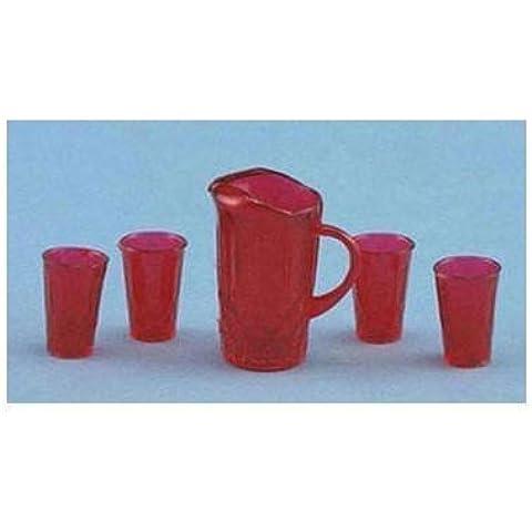 Dollhouse PITCHER W/4 GLASSES, RED by Chrysnbon