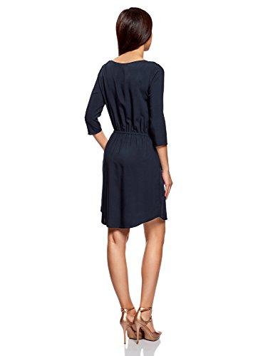 oodji Ultra Damen Viskose-Kleid mit 3/4-Arm Blau (7900N)