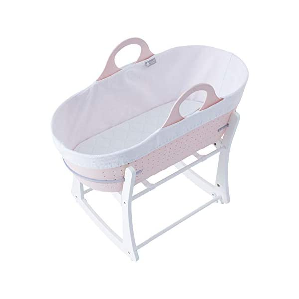 Tommee Tippee Sleepee Baby Moses Basket and Rocking Stand Pink Tommee Tippee Safe, modern, portable baby moses basket, perfect to keep your newborn baby nearby as they sleep, day or night. your sleepee moses basket comes with complete with mattress, liner and rocking stand. Choose static or rocking position, the curved base on the stand allows you to gently rock your baby to sleep and features adjustable safety stops to give you the option of rocking or keeping it still. Easy to clean, the sleepee moses basket can be cleaned with warm soapy water. the water-resistant mattress cover is wipe clean and machine washable. the 100 % cotton liner is machine washable. 1