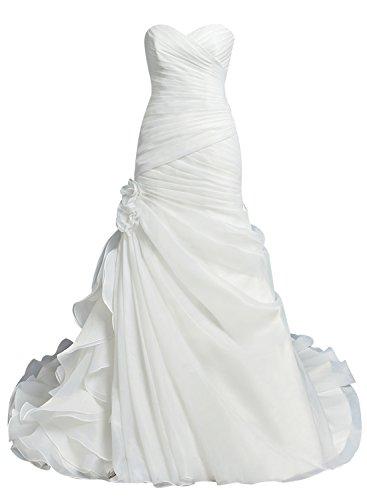 Bbonlinedress Robe de la mariée robe de mariage en organza bustier en cœur avec traîne Blanc